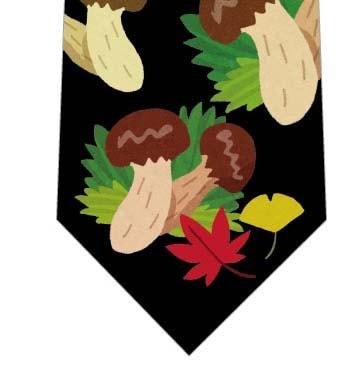 秋の味覚松茸ネクタイ(黒)の写真