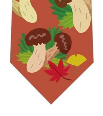 秋の味覚松茸ネクタイ(赤茶)の写真