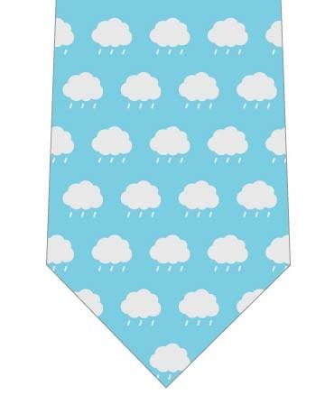 雨雲が並んだネクタイ(水色)の写真