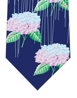 雨×紫陽花ネクタイ(紺)の写真