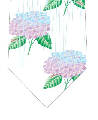 雨×紫陽花ネクタイ(白)の写真