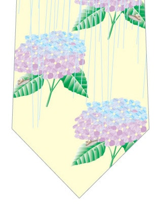 雨×紫陽花ネクタイ(黄色)の写真