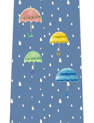 雨と傘ネクタイ(落ち着いたブルー)の写真
