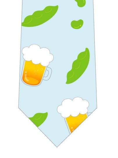 ビールと枝豆ネクタイの写真