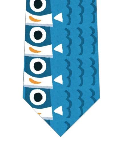 青い鯉のぼりが縦に並んだネクタイの写真