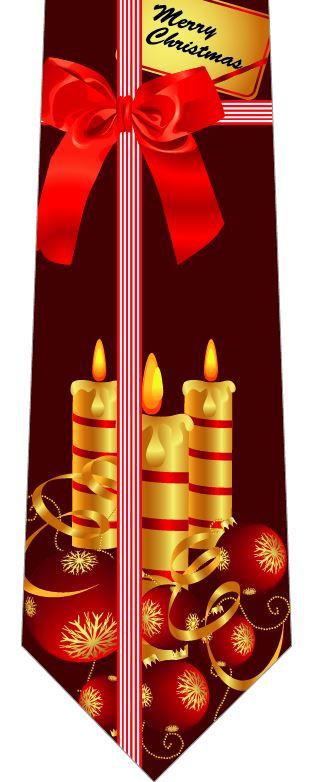 クリスマスネクタイ(キャンドルとリボン)の写真