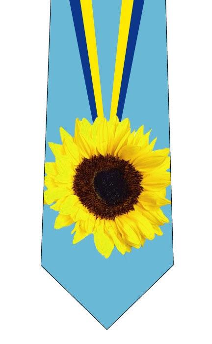 父の日ひまわり金メダルネクタイ水色(文字なし)の写真