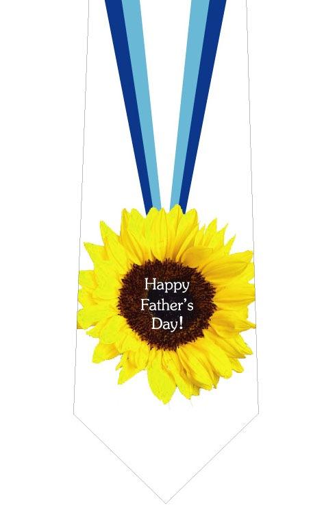 父の日ひまわり金メダルネクタイ白(文字あり)の写真