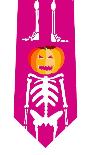 ハロウィンネクタイ(直立かぼちゃドクロ)の写真