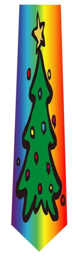 クリスマス(ツリーレインボー)ネクタイの写真