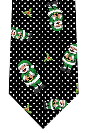クリスマスネクタイ(笑うサンタごろごろ・緑)の写真