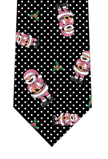 クリスマスネクタイ(笑うサンタごろごろ・ピンク)の写真