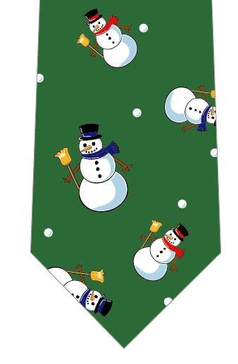 クリスマスネクタイ(雪だるまごろごろ)緑の写真