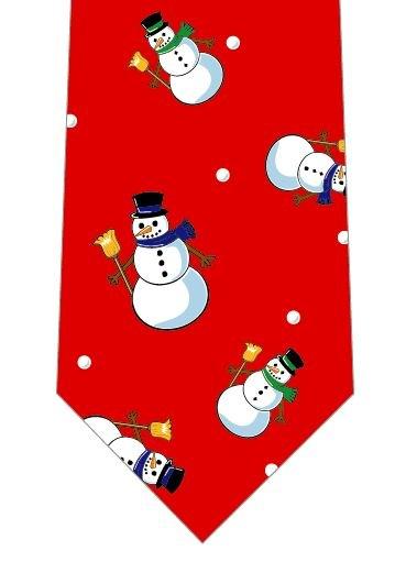 クリスマスネクタイ(雪だるまごろごろ)赤の写真