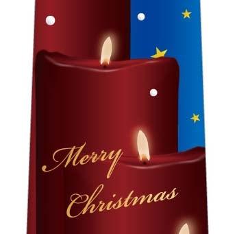 クリスマスネクタイ(キャンドルに降る星と雪・青)の写真