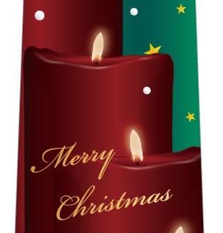 クリスマスネクタイ(キャンドルに降る星と雪・緑)の写真