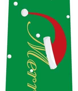 クリスマスネクタイ(サンタ帽子の文字・緑)の写真