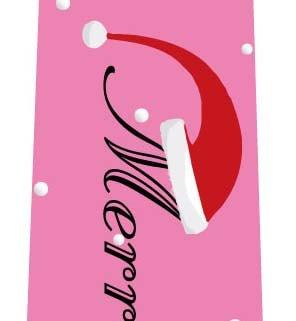 クリスマスネクタイ(サンタ帽子の文字・ピンク)の写真