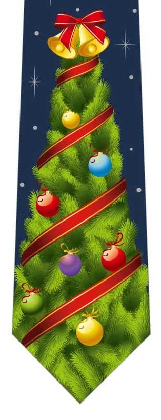 クリスマスツリーネクタイ(ベル)紺の写真