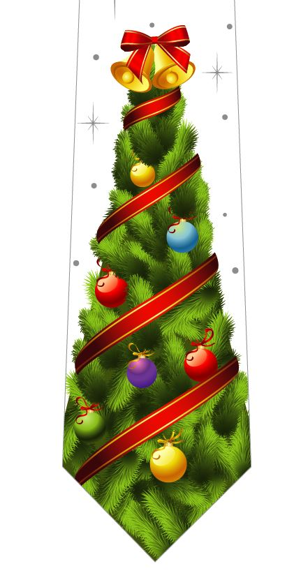 クリスマスツリーネクタイ(ベル)白の写真