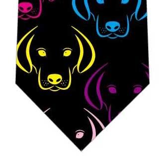 カラフル犬ネクタイ(黒)の写真