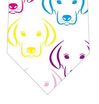 カラフル犬ネクタイ(白)の写真