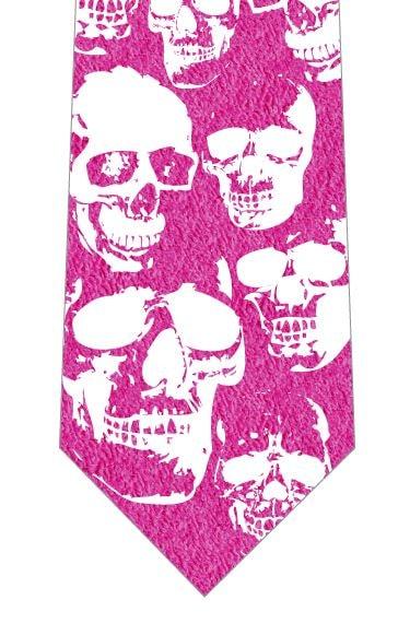 ハロウィンネクタイ(ドクロの顔)ピンクの写真
