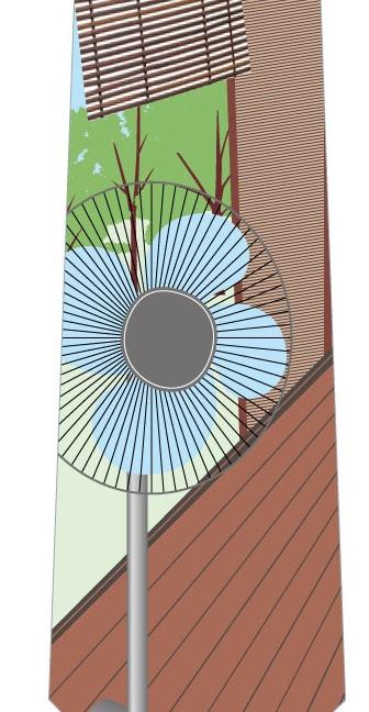 縁側の扇風機ネクタイの写真