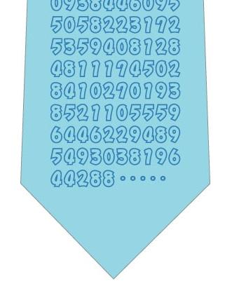 円周率ネクタイ(水色)ネクタイの写真