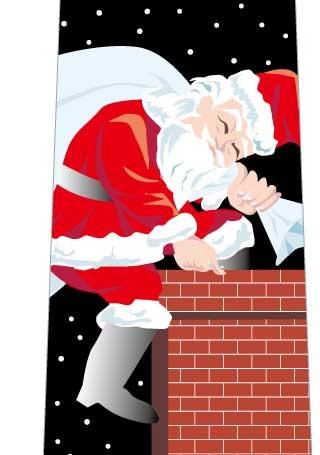 クリスマスネクタイ(煙突からサンタ)黒の写真