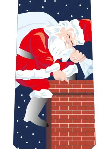 クリスマスネクタイ(煙突からサンタ)紺の写真