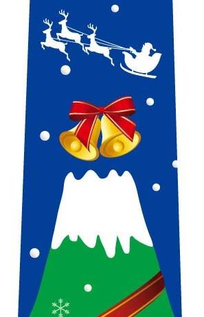 富士山クリスマスツリーネクタイ(ブルー)の写真