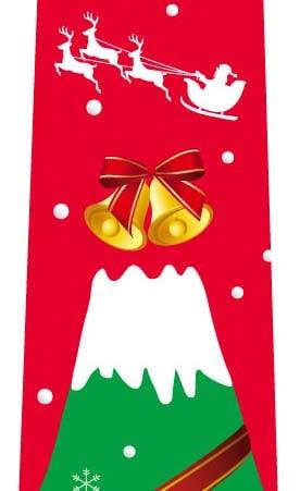 富士山クリスマスツリーネクタイ(赤)の写真