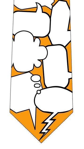 吹き出しメッセージネクタイ(オレンジ)の写真