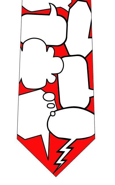 吹き出しメッセージネクタイ(赤)の写真