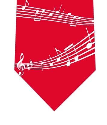 楽譜ネクタイ(赤)の写真
