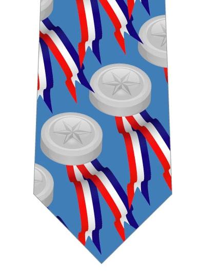 銀メダル柄ネクタイの写真