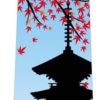 秋の紅葉ネクタイ(五重塔・青空)の写真