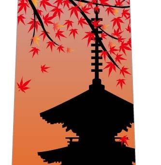 秋の紅葉ネクタイ(五重塔・夕焼け)の写真