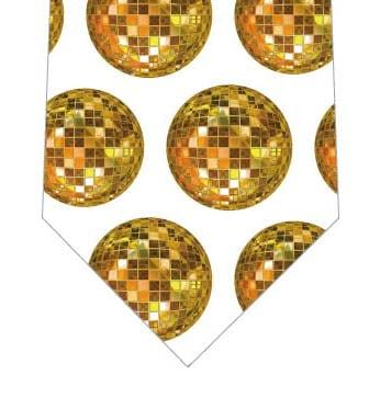 ゴールドミラーボールネクタイ(白)の写真
