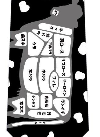牛肉の部位ネクタイ(黒)の写真