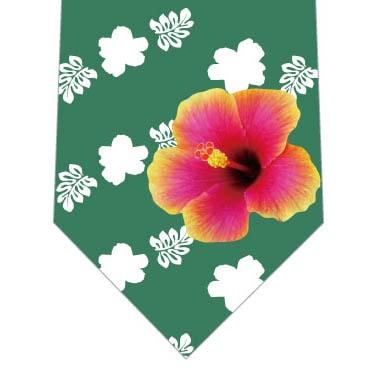 ハイビスカス柄ネクタイ(緑)の写真