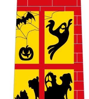 ハロウィンネクタイ(窓に映る影・赤)の写真