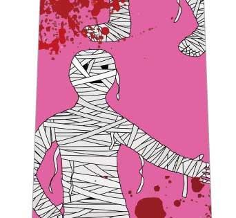 ハロウィンネクタイ(ミイラと血のり・ピンク)の写真