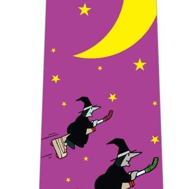ハロウィンネクタイ(掃除機魔女が飛ぶ・赤紫)の写真