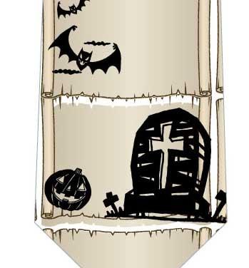ハロウィン(お墓とおばけ)ネクタイの写真