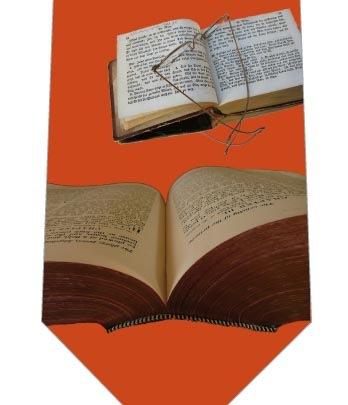 開いた本ネクタイ(濃いオレンジ)の写真
