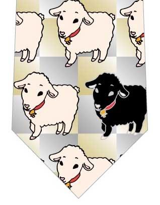 羊並んだネクタイ(金銀)の写真