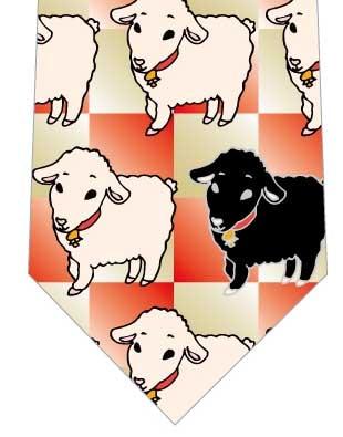 羊並んだネクタイ(赤金)の写真