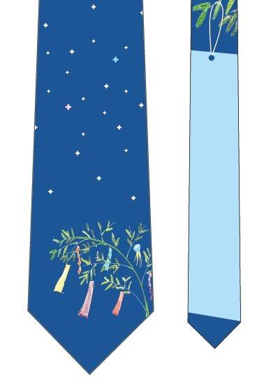 星に願いを短冊ネクタイ(水色)の写真
